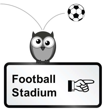strigiformes: Monochrome comical football stadium sign isolated on white background