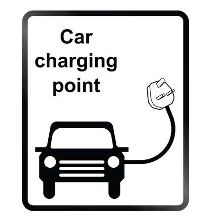 Monochrome electric car charging point public information sign isolated on white background