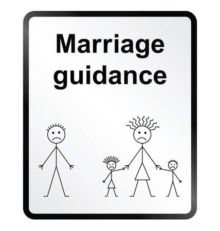 break up: Monochrome marriage guidance public information sign isolated on white background Illustration