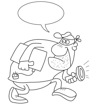 burglar: Monochrome outline cartoon burglar with speech bubble for own text isolated on white background