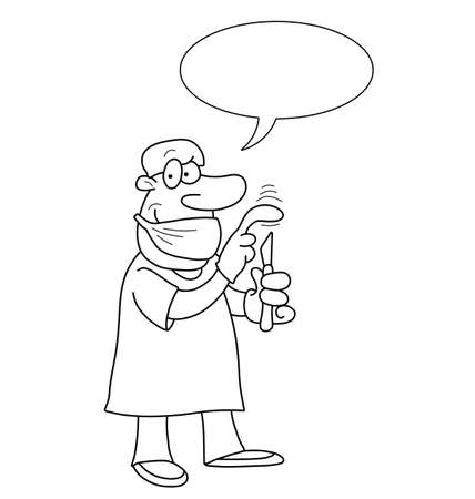 Monochrome outline cartoon doctor with speech bubble for own text isolated on white background Vector