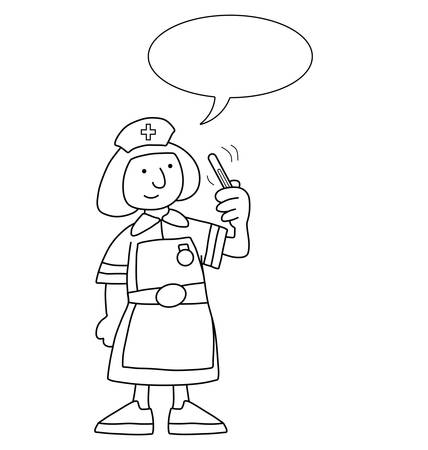 Monochrome outline cartoon nurse with speech bubble for own text isolated on white background Vector Illustration