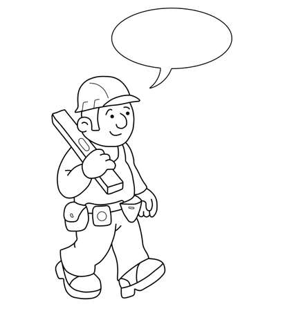 Monochrome outline cartoon builder with speech bubble for own text isolated on white background Vector