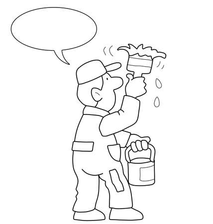 handyman cartoon: Monochrome outline cartoon painter with speech bubble for own text isolated on white background