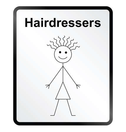 tresses: Monochrome comical hairdressers public information sign isolated on white background