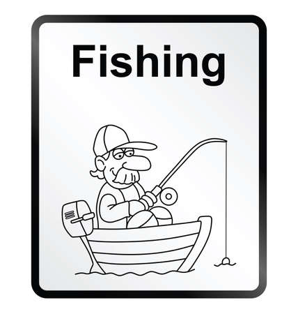 outboard: Monochrome comical fishing public information sign isolated on white background