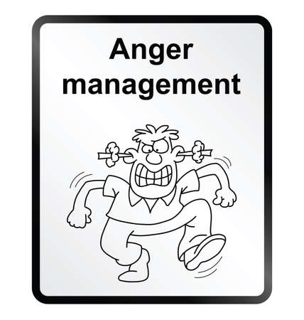 incensed: Monochrome anger management public information sign isolated on white background
