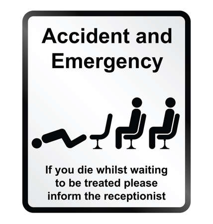 nhs: Monochrome comical accident and emergency public information sign isolated on white background