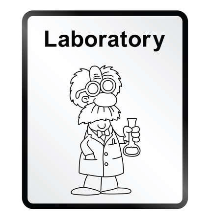 Monochrome comical laboratory public information sign isolated on white background Vector