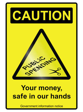 cutback: Ironic government public spending cuts hazard sign isolated on white background Illustration