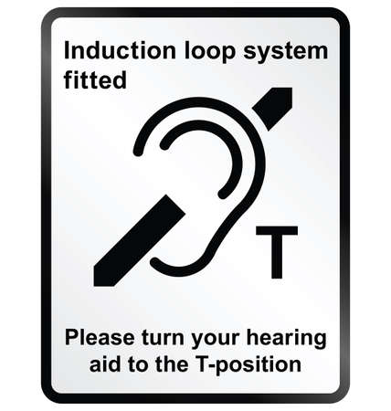 Monochrome induction loop system facility public information sign isolated on white background