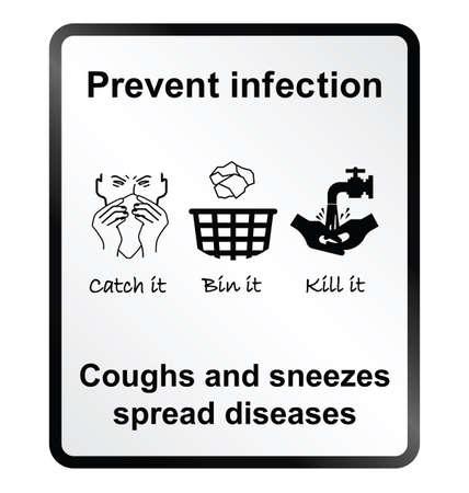 public health: Prevenir la infecci�n signo de la informaci�n de salud p�blica aisladas sobre fondo blanco