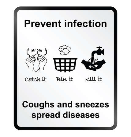 infectious disease: Prevent infection public health information sign isolated on white background