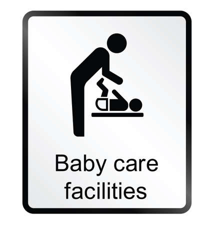 facilities: Monochrome baby care facilities public information sign isolated on white background