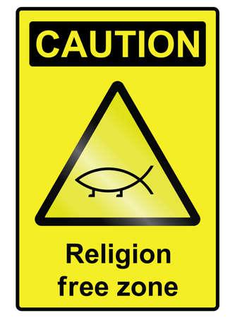 theological: Religion free zone sign isolated on white background Illustration