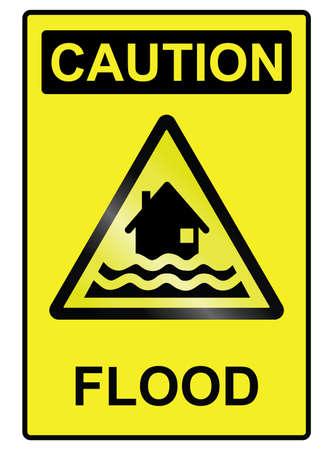 deluge: Flood hazard warning information sign isolated on white background Illustration