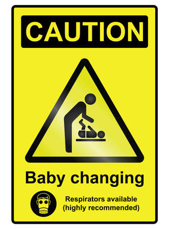 baby changing sign: Comical baby changing hazard warning information sign isolated on white background Illustration