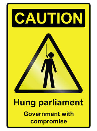 hung: Hung parliament hazard warning information sign isolated on white background