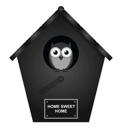 strigiformes: Monochrome birdhouse isolated on white background Illustration