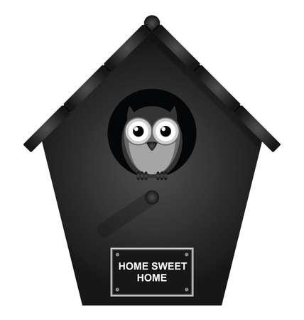 Monochrome birdhouse isolated on white background Illustration