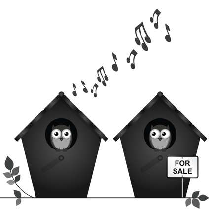 noise pollution: Monochrome noisy neighbours with birdhouses for sale isolated on white background