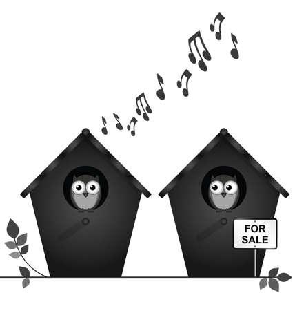 contaminacion acustica: Monocromo vecinos ruidosos con pajareras venta aisladas sobre fondo blanco