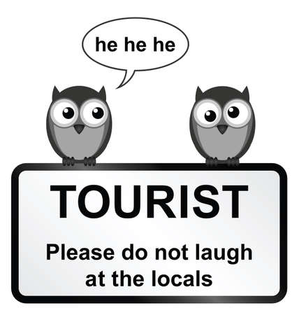 strigiformes: Monochrome comical tourist sign with owls isolated on white background Illustration