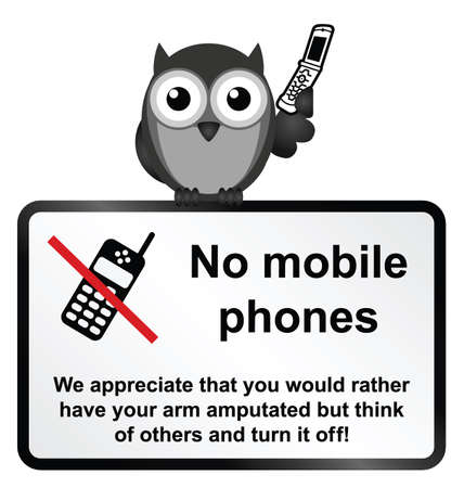 Monochrome comical no mobile phones sign isolated on white background