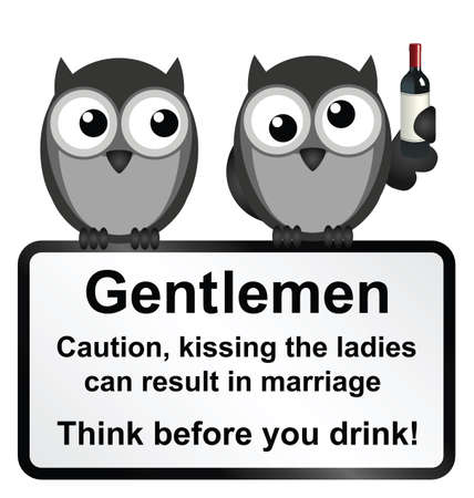strigiformes: Monochrome comical men kissing the ladies whilst drunk warning sign isolated on white background Illustration