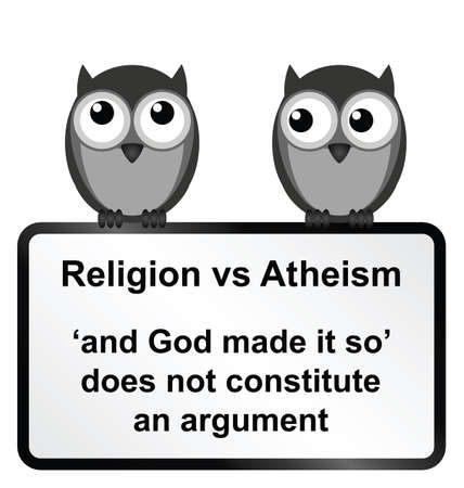 verses: Monochrome religion verses atheism sign isolated on white background