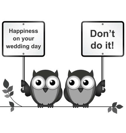 strigiformes: Monochrome comical happy wedding day isolated on white background
