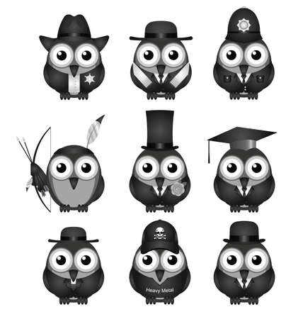 bowler hats: Monochrome various bird characters collection isolated on white background