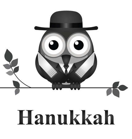dedicate: Comical bird Hanukkah Day message isolated on white background Illustration