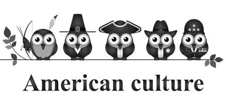 cultural history: Depiction of American culture through history isolated on white background