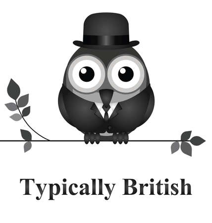 derby hats: Comical bird typically British message isolated on white background Illustration