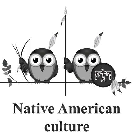 sioux: Bird Native American culture isolated on white background