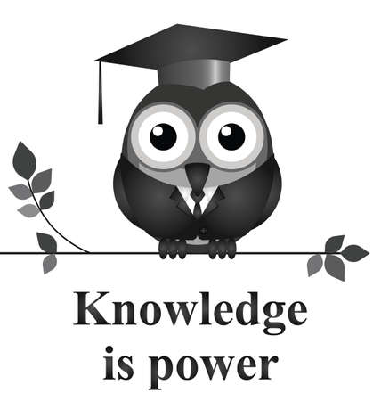 knowledgeable: Monochrome knowledge is power message isolated on white background Illustration