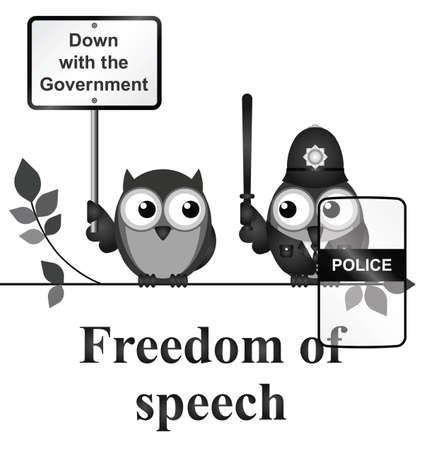 demonstrator: Monochrome comical freedom of speech isolated on white background Illustration