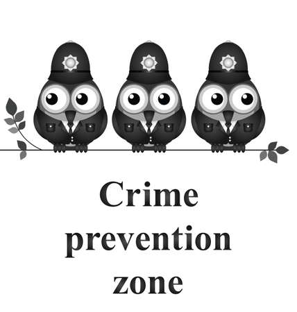 Monochrome comical crime prevention zone UK version isolated on white background Illustration