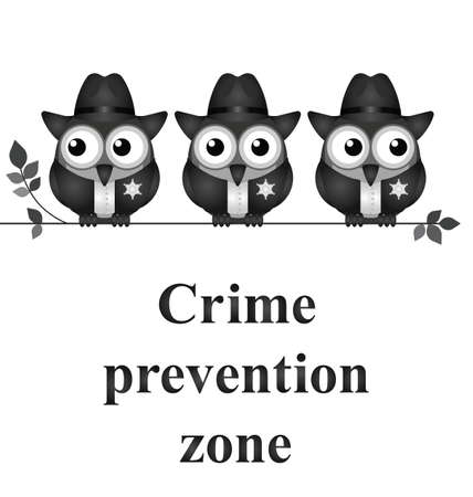 constabulary: Monochrome comical crime prevention zone USA version isolated on white background Illustration