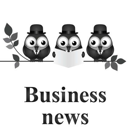 strigiformes: Monochrome comical business news concept isolated on white background Illustration