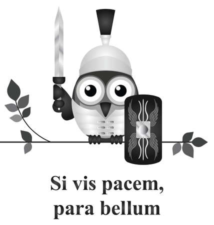 translated: Monochrome Latin quotation Si vis pacem para bellum by Vegetius translated as if you want peace prepare for war isolated on white background Illustration