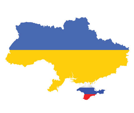 seized: Flag of Ukraine overlaid on map with Crimea shown annexed by Russian flag isolated on white background