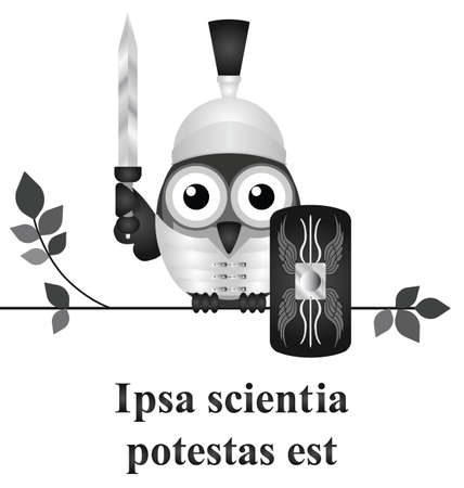 translated: Monochrome Latin quotation Ipsa scientia potestas est attributed to Sir Francis Bacon translated as knowledge itself is power isolated on white background