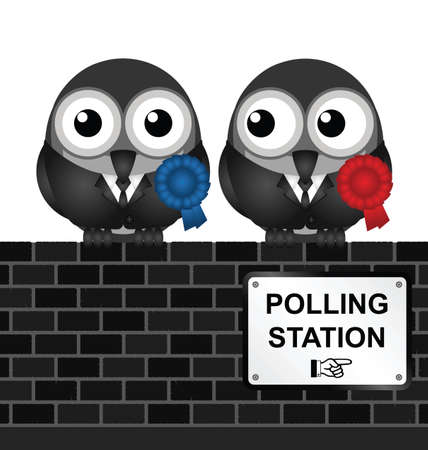electioneering: Monochrome comical polling station sign on brick wall