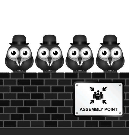 congregate: Monochrome comical assembly point sign on brick wall Illustration