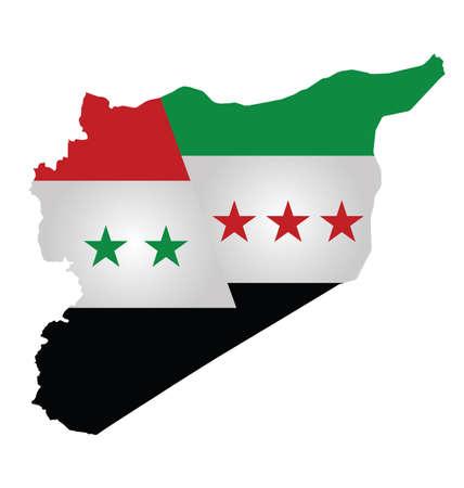 oposicion: Bandera de Siria y la oposici�n siria superpuesta en el mapa de esquema que divide el condado aislado en fondo blanco