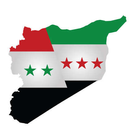 Flag of Syria and Syrian opposition overlaid on outline map dividing the county isolated on white background