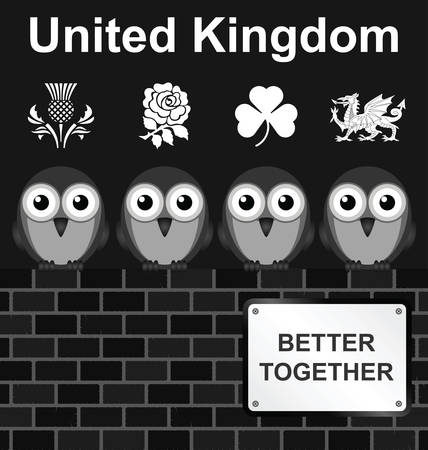 cymru: Monochrome comical United Kingdom better together sign on brick wall isolated on white background Illustration