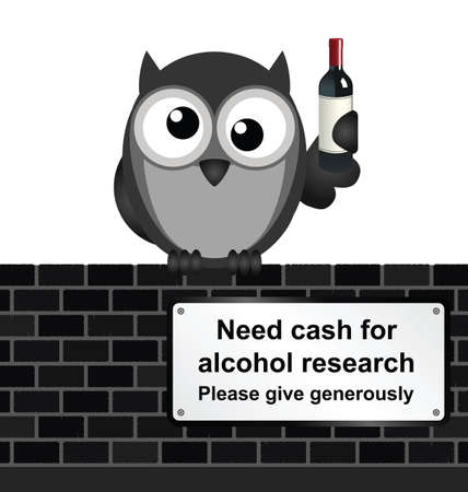 inebriated: Monochrome comical alcoholic drink research sign on brick wall isolated on white background